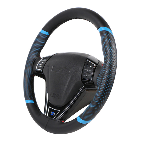 O SHI CAR Steering Wheel Cover Durable 38cm Stitch on Wrap case/Sport Style imitation leather steering cover with Needle &Thread Multan