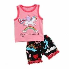 Funfeliz Kleinkind-Mädchen-Sommer-Kleidungs-gesetztes nettes Einhorn-Rosa-T-Shirt Kurzschluss-Baby Gilr kleidet Karikatur-Sleeveless Kindersport-Klage