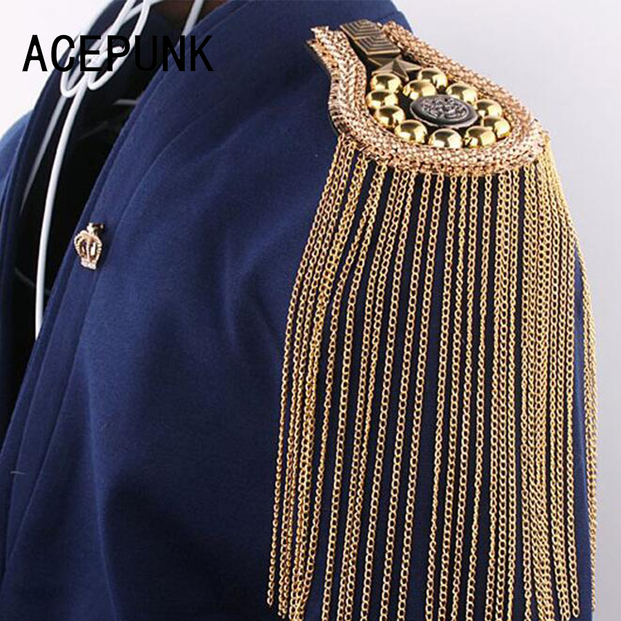 Loyaal Mannen Vrouwen Britse Broche Gastheer Prestaties Ceremoniële Pak Schort Mode Kwastje Mode Klinknagels Epauletten Schouder Epauletten