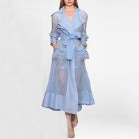 2018 новые осенние Для женщин Тренч X Длинная ветровка Европа Америка тенденции моды с перо Тренч с поясом для леди