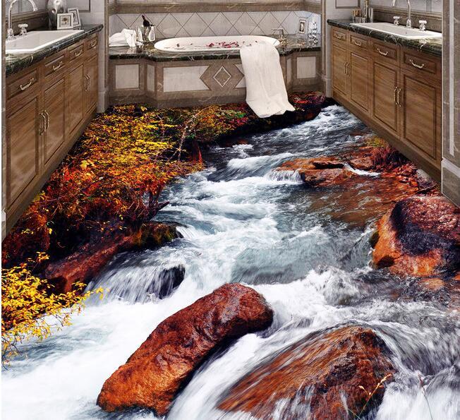 3 d pvc flooring custom  wall paper Hd streams waterfall 3d bathroom bedroom flooring  Setting wall mural  Adornment picture