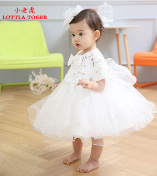 2PCS Baby Girl Pageant Wedding Dresses Infant Princess Little Girls 1 Year Birthday Party Dress Newborn Christening Gowns