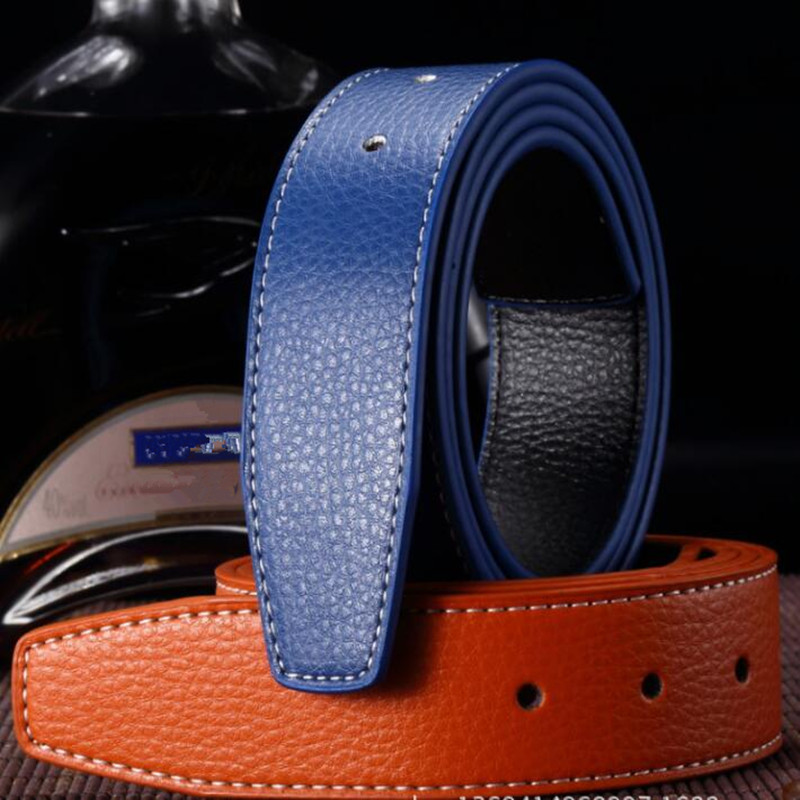 VOHIO Luxury Genuine leather men belt Pin buckle belt body smooth punching double-sided leather belt buckle body without buckle