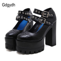 Gdgydh 2017 New Women Shoes Fashion Thick Heel Platform Mary Janes Casual Shallow Mouth Female Single