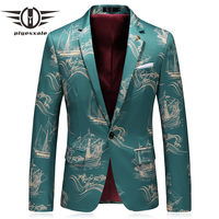 Plyesxale Blazer Men 2018 Luxury Brand Sailboat Pattern Mens Printed Blazer Slim Fit Light Blue Stage Party Blazers Jacket Q4