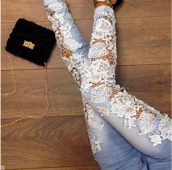 Starlist woman sexy high quality lace blue skinny jeans hollow out lace spliced elastic long pencil