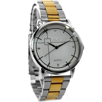 Alexis Men Analog Quartz Round Watch Japan PC21J Movement Gold with Shiny Stainless Steel Band White Dial Water Resistant