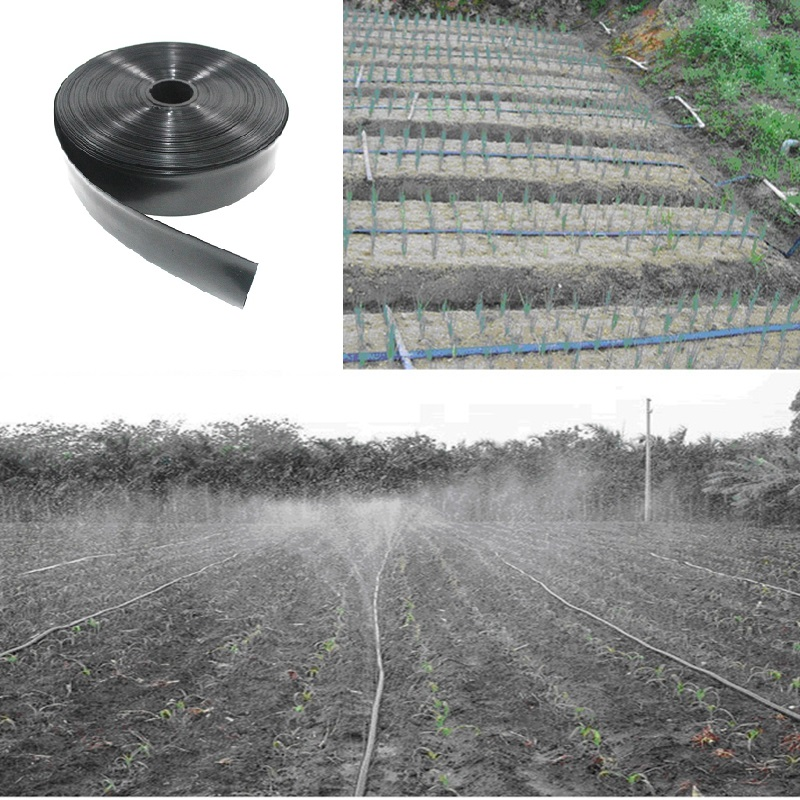 50/100/200 Meters Roll Watering System Flat Drip Line Garden Soft Drip Tape Irrigation Kit N45/1'' 3 Hole Hose