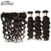 Ханне волос Малайзии глубоко вьющихся волос мокрый и волнистые натуральные волосы 3 Связки с 13x4 кружева Фронтальная застежка может быть Пер