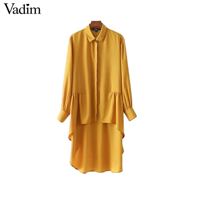 Vadim vintage asymetrical yellow long shirts pleated long sleeve turn down collar blouses ladies autumn tops blusas LT2233