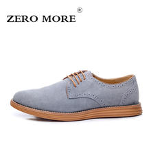 ZERO MORE British Oxford Shoes for Men Fashion High Quality Pointed Toe Formal Men Shoes Male Cow Suede Shoes Size 38-47