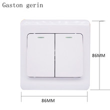 Wall Light Switch 2 Gang 1 Way AC 220V Push Button Wall Panel Hall Bedroom Ceiling Lights Wall Lamps Switches with Indicator цена в Москве и Питере