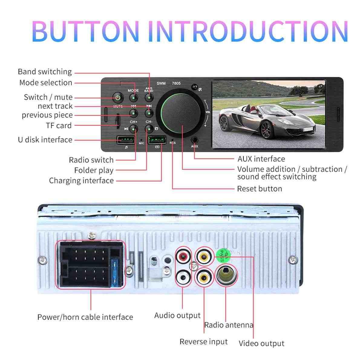 """勝利のスクリーン車のマルチメディアリアビューカメラ 4.1 """"HD プレーヤー GPS ナビゲーションステレオオーディオラジオブルー歯格納式タッチ画面"""