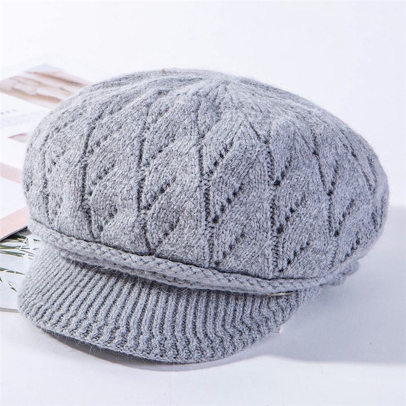 USPOP 2019 New Winter hats caps women velvet lining octagonal hats rabbit hair knitted visor cap solid color thick warm hats in Men 39 s Newsboy Caps from Apparel Accessories