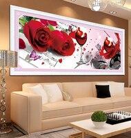 İğne, DMC DIY Çapraz dikiş, Nakış kiti seti, aşk Gül şarap kelebek Çiçek Çapraz Dikiş boyama düğün dekor Toptan