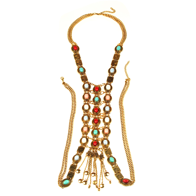 Fashion Sexy Bikini Beach Multilayer Tassel Crossover Necklace Prethoracic Body Ketting Jewelry Necklace By10 Necklaces & Pendants Chain Necklaces