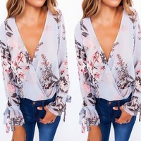 New 2017 Women Fashion Flare Sleeve Floral Printed Blouse Front Ruffles Deep V Neck Casual Tops