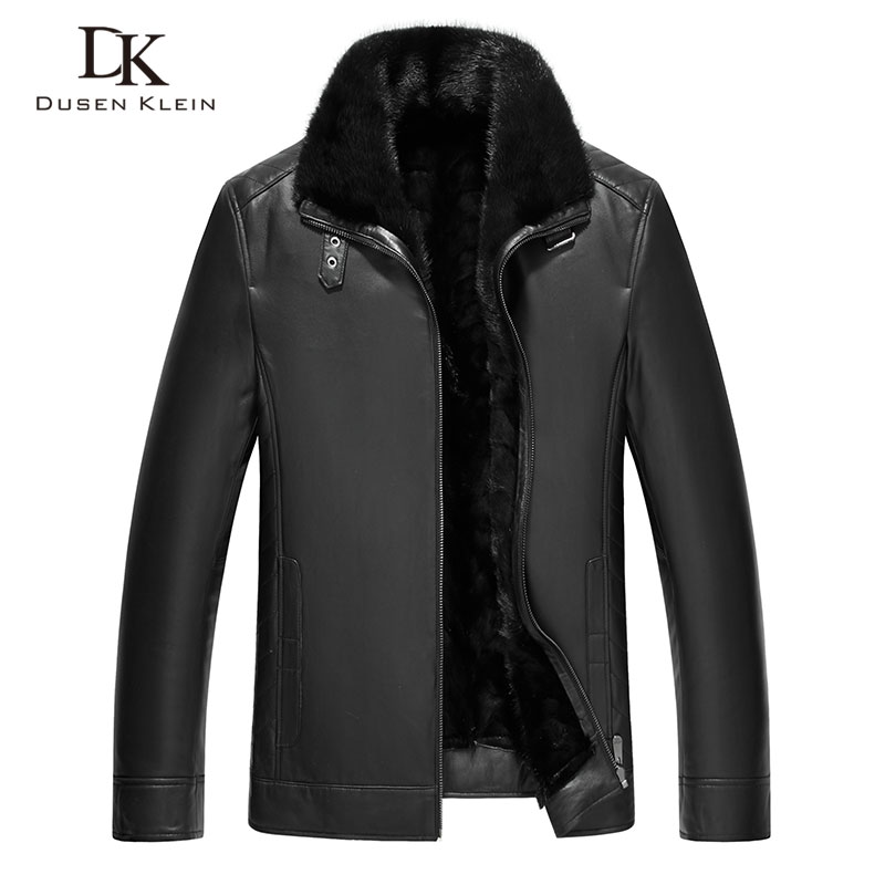 Mink Fur leather jacket men Dusen Klein Genuine sheepskin Mink fur liner Fur collar Luxury Brand winter leather coats  71Q573D