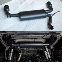 Flat Black Dual Back Exhaust Muffler System For 2014 2015 2016 2017 Jeep Wrangler JK