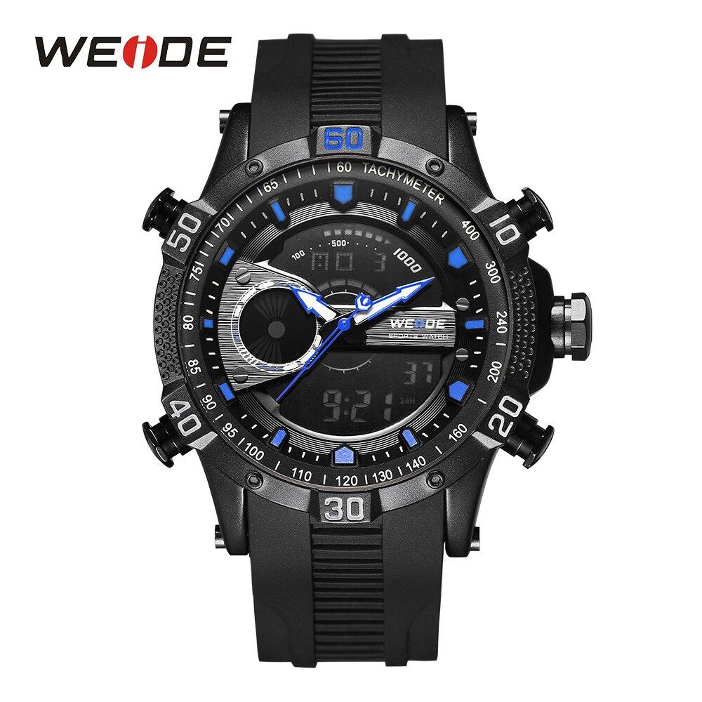 цена на WEIDE Men Sports Watch Dual Display Chronograph Water Resistant Alarm Hardlex Round Dial Rubber Band Man Quartz Wristwatch Watch