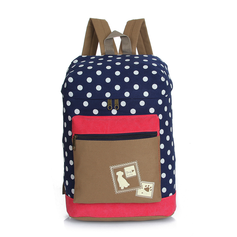 2015 Fashion Students Oversize Bag Backpack Women Girl Canvas Rucksack Polka Dot Backpack School Book Barrel