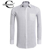 COOFANDY Men's Long Sleeve Striped Pocket Casual Button Down Shirt Spring Autumn regular fit Casual style