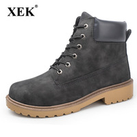 XEK Faux Suede Leather Men Boots Spring Autumn And Winter Man Shoes Ankle Boot Men's Snow Shoe Work Plus size ZLL02 ST01