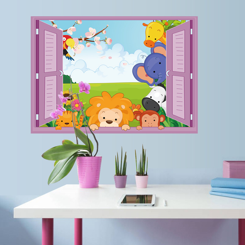 3D Window Cartoon Dyr Zoo Wall Sticker Lion Kids Room Dekaler Girls Girls Vinyl Wall Sticker Hjemmeindretning Cute Animals Windows