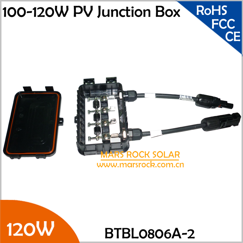 5pcs/Lot 100-120W Solar Power System Junction Box, Waterproof Photovoltaic Junction Box with 3 Diode, MC4 Connector, 90CM Cable load cell junction box 5 hole 4 wire junction box weighbridge weighbridge hub