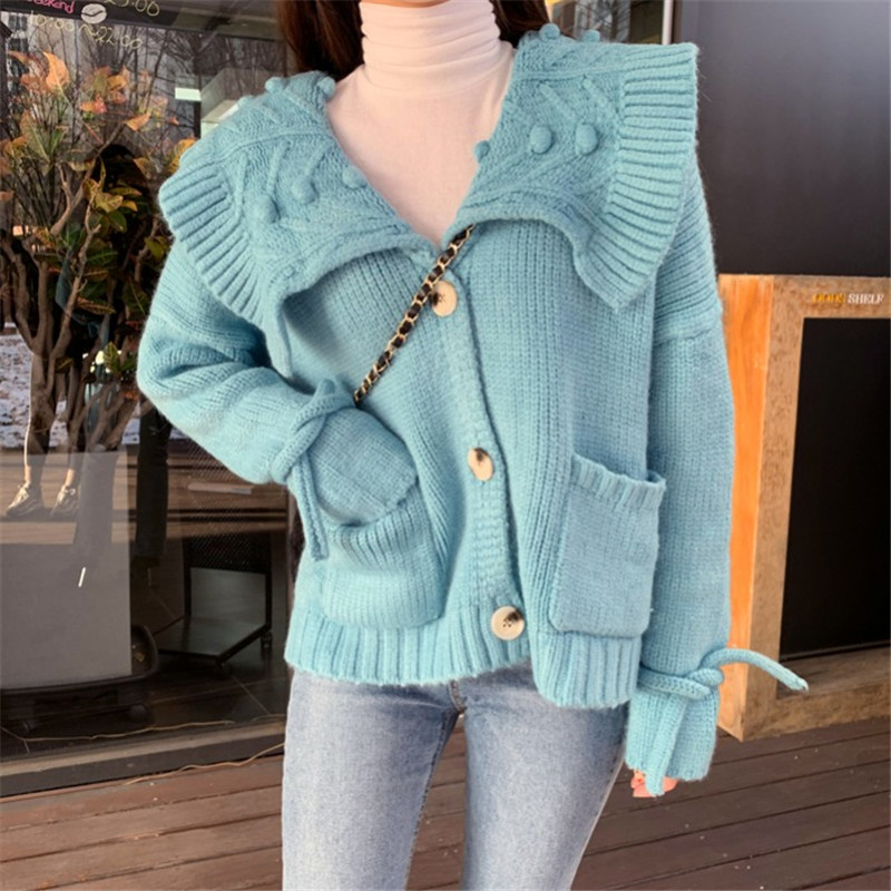 Sweet Lapel Kintted Cardigan Women Autumn Winter Pockets Blue Sweater Women Lace Up Cardigan Mujer Knitted Sweater Jacket C5709