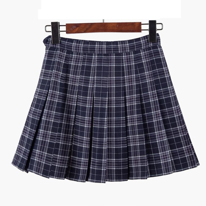2017 autumn school uniform skirt fashion plaid short skirt pleated lace skirt student girl pleated skirt