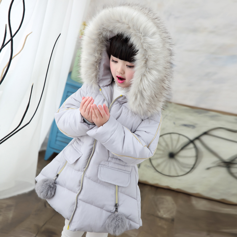 2018 Brand Girls Winter Warm With Thick Cotton-Padded Fur Collar Coat Kid Waistband Jacket Child School Keep Warm Outwear hot 2017 spring winter casual women stand collar basic coat slim thick outwear warm parka woman short cotton padded jacket p939