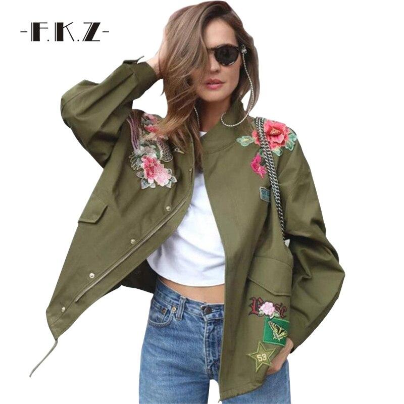 Фкз весенняя куртка Для женщин пион животных Вышивка осенняя куртка узор на молнии с заклепками в стиле ретро Для женщин Модный Jacke Армейски... ...