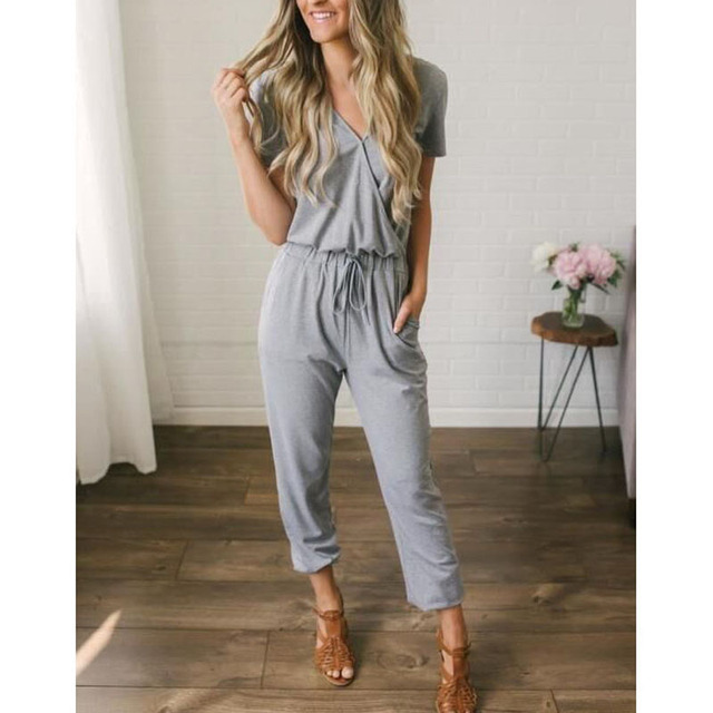Sexy short sleeve jumpsuit women long romper 2019 summer lady Fashion black trousers beach jumpsuit coveralls sexy female frock