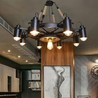 SGROW лофт американский металлический абажур пеньковая веревка Подвесные Светильники для Гостиная кафе бар Ретро передач подвесной светильн
