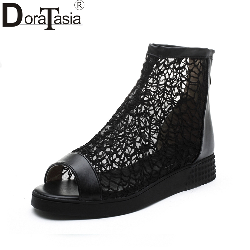 DoraTasia Best Quality Big Size 34-43 Peep Toe Air Mesh Summer Boots Women Shoes Fashion Zip Up Causal Shoes Woman