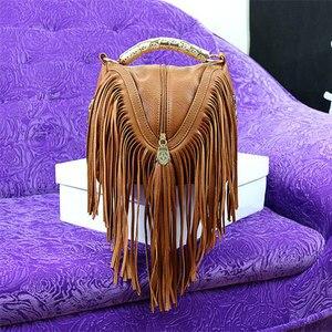 Image 3 - Лидер продаж, модные женские сумки через плечо с кисточками, сумки тоуты из искусственной кожи, сумки мессенджеры с металлическими блестящими ручками, сумки с бахромой
