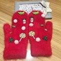 Женщины перчатки Зима Рождество Счастливый Оригинальный Ручной Корея Jewel Динозавров Конфеты Согреться Кролик 'ы Волосы Даже Палец Перчатки