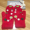 Woman gloves Winter Christmas Happy Original Manual Korea Jewel Dinosaur Candy Keep Warm Rabbit's Hair Even Finger Glove