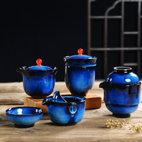 Creative Yacobian Blue Ceramic Quick Cup Teacup Teapot for Outdoor Travel Easy Carry Office Drinkware Kettle Small Cups Gifts