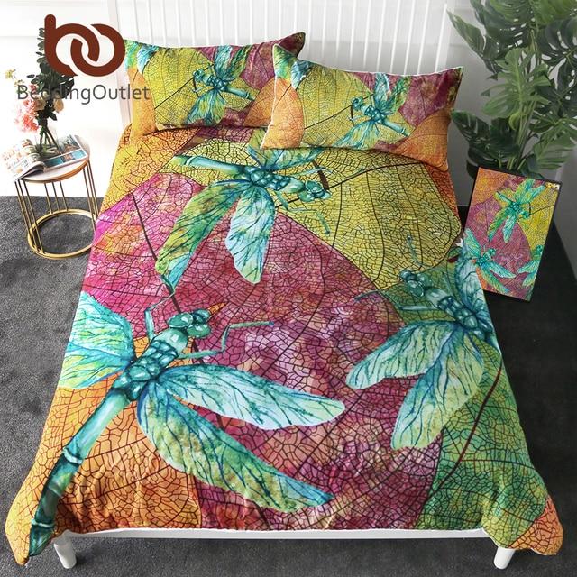 BeddingOutlet Dragonfly Bedding Set Leaf Stems Duvet Cover Set Colorful Insect Print Home Textiles Nature Beauty Bedclothes 3pcs