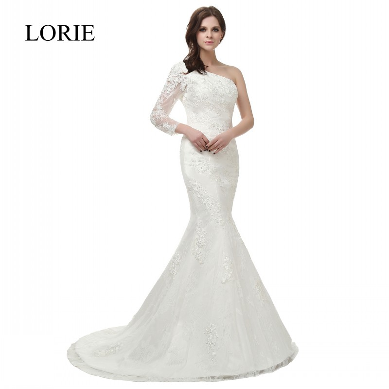 Vintage Lace Wedding Dress Mermaid Long Sleeve 2018 Robe de mariee One Shoulder Modest Bridal Gowns with Sweep Train