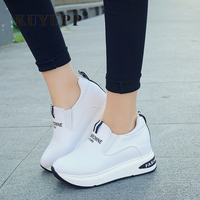 Shoes Women High Top Autumn Quality Leather Wedges Casual Shoes Height Increasing Slip On Ladies Shoes