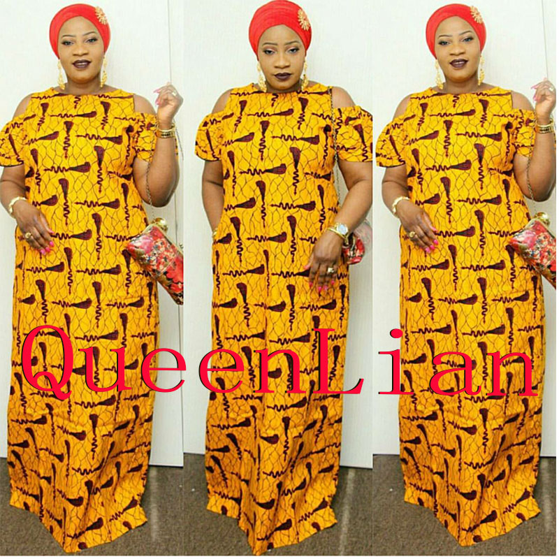 2017 African Dashiki New Dashiki Traditonal Fashion Design Bazin Super Elastic Party Plus Loose For Lady(LJ#HUANGSE)