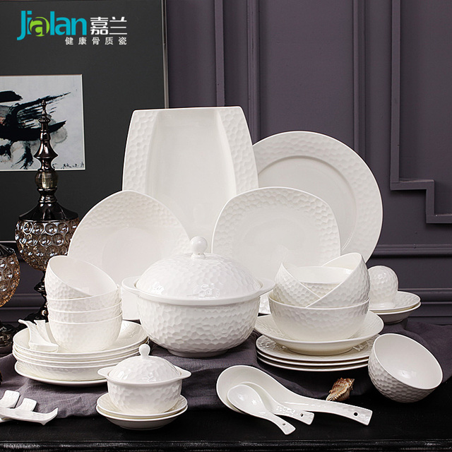 10 White Garland bone china tableware set simple relief tableware bowl gift suit European home dishes & 10 White Garland bone china tableware set simple relief tableware ...