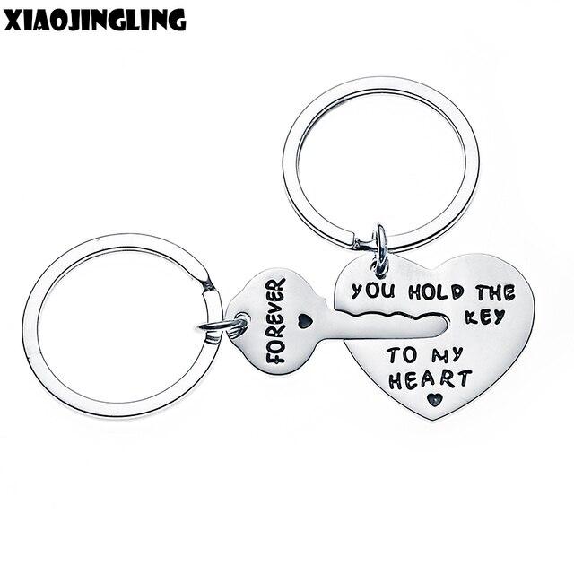 XIAOJINGLING Design Key&Heart Keychain Women Fashion Jewelry Men Keyring you HOL