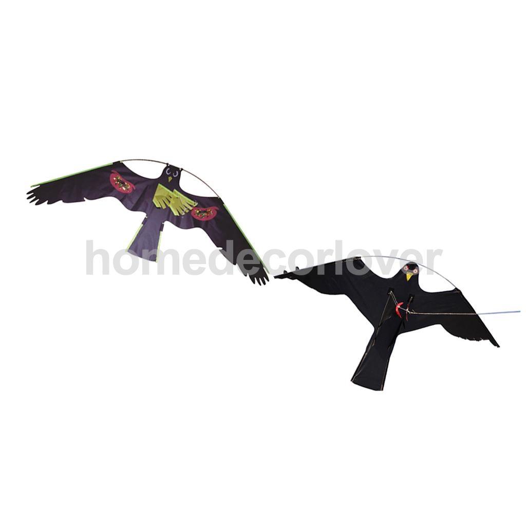 2x Black Flying Hawk Kite #1 #2 Owl Bird Hunting Decoy Deterrent Repeller  Garden Weed Pest Scarer