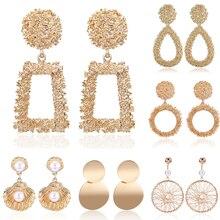 HOCOLE 2019 Trendy Metal Earrings For Women Gold/Silver ZA Geometric Drop Dangle Earring Statement Fashion Jewelry Party Female цена