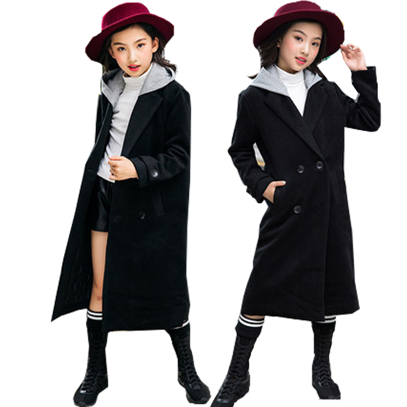 все цены на Teen Girls Wool Coat Thick Fashion Black Long Overcoat Kids Jacket for Girls Winter Coat Outerwear Children Clothing 14 15 years
