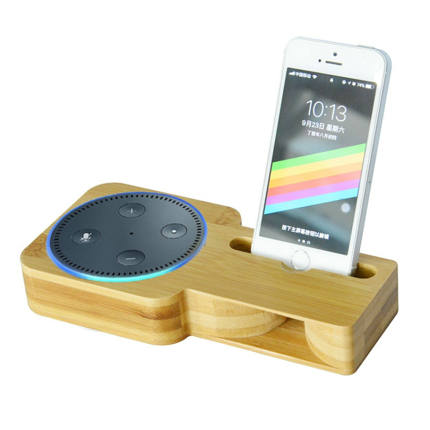 Bamboo Wood Mobile Phone Holder Stand For Amazon Echo